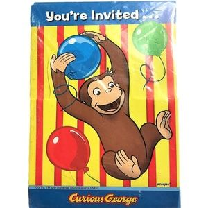 Curious George Party Invitations Set of 8 New